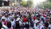 Myanmar: Thousands of anti-coup protesters rally in Yangon amid calls for general strike