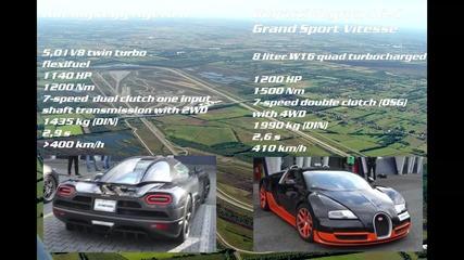 Ускорение от 50 до 350 км/ч Bugatti Veyron Vitesse vs Koenigsegg Agera R