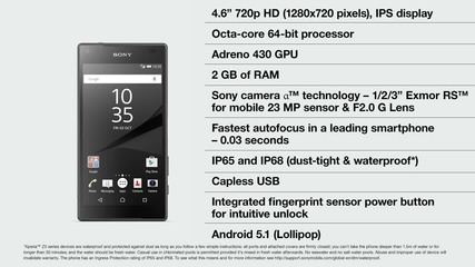 Sony Xperia Z5 Compact: all the great Sony technologies found in Xperia Z5, in a smaller form factor