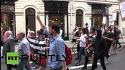UK: Scuffles break out during protest over sacked Sotheby's cleaners
