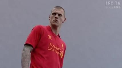 Liverpool players model the new 2012-13 Lfc kit