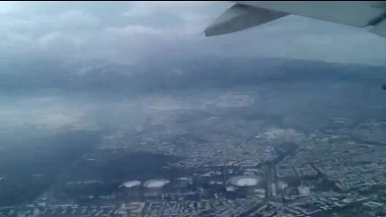 Поглед над зимна София от излитащ Airbus A-320