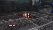 Wwe '13_ Brock Lesnar F5's Big Show through Top of the Cell