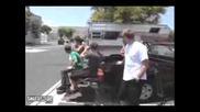 Skateboarder Ollies Moving Car