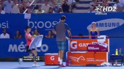 Най-зрелищната точка на Григор Димитров срещу Анди Мъри (01.03.2014)