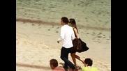 Nina Dobrev and Ian Somerhalder walking on the beach June 8 2010