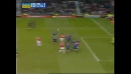 Първият гол на Кр. Роналдо (18 - годишен) от пряк свободен удар с фланелката Ман Юнайтед!