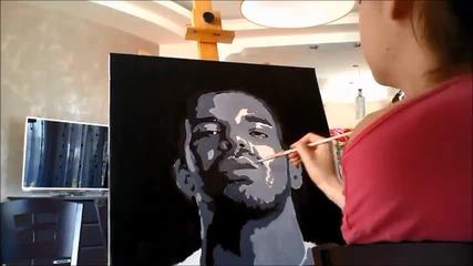 Надя рисува Drake поп арт портрет