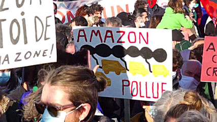 France: Protesters rally against Amazon facility near Nantes