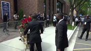 USA: 'No justice, no peace' - mourners chant as Floyd's casket leaves memorial service