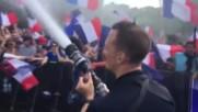 Френски пожарникари охлаждат футболните страсти в Париж