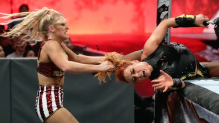 Lacey Evans wraps Becky Lynch around the ring post: WWE Stomping Grounds 2019 (WWE Network Exclusive)