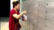 Жена с много бързи ръце зарежда пощенски кутии с рекламни листовки !