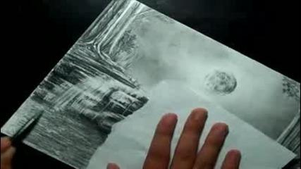 Moon - Lit Waterfall Landscape Speed Drawing