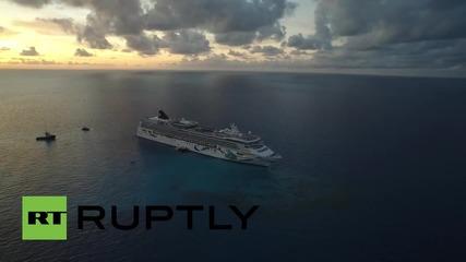 Bermuda: Drone footage captures Norwegian Dawn cruise ship stuck on Bermuda reef
