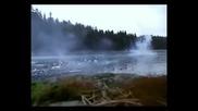 Фойерверки под замръзнало езеро