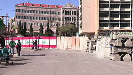Lebanon: Concrete barriers set up in front of Government Palace