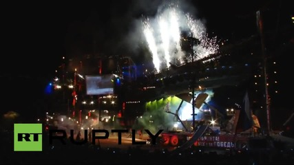 Russia: Night Wolves hold huge WWII re-enactment with lasers and fireworks