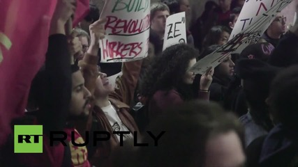 USA: Students picket CUNY Chancellor's residence during Million Student March