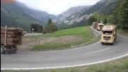 Голям конвой от камиони се спуска от планината