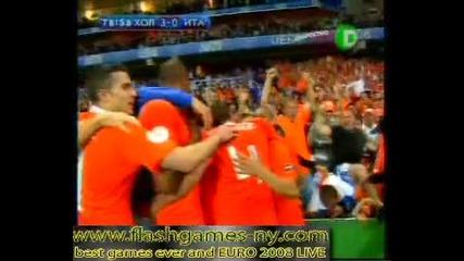 ЕВРО 2008 Холандия повежда на Италия с 3:0 - 10.06.2008 HQ