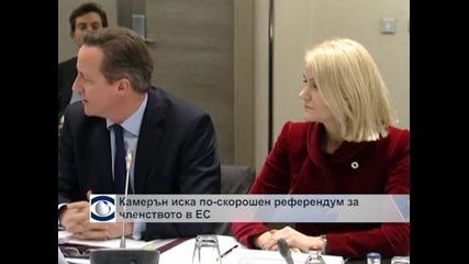 Камерън се обяви за бърз референдум за британското членство в ЕС