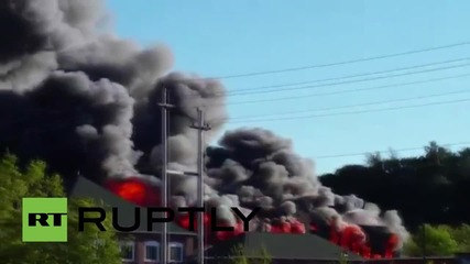 USA: HUGE blaze hits Massachusetts mill