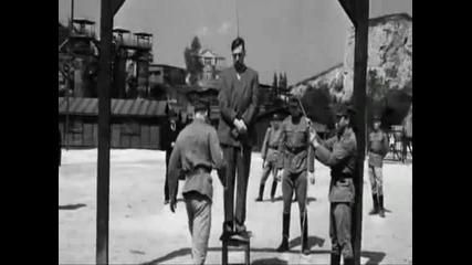 Обесването на Амон Гьот казвайки Хайл Хитлер