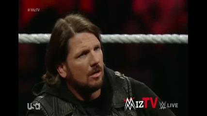 Ей Джей Стайлс гостува в Миз Тв ( Миз трябва да си държи езика зад зъбите ) - Wwe Raw - 01.02.16