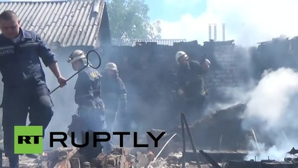 Ukraine: House burnt to the ground in renewed shelling Oktyabrsky village