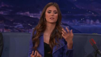 Nina Dobrev Shows How To Make The Sexy Vampire Face - Conan on Tbs