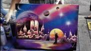 Страхотно изкуство.. Ню Йорк нарисуван със спрей..