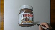Реалистично рисуване на буркан от Нутела!