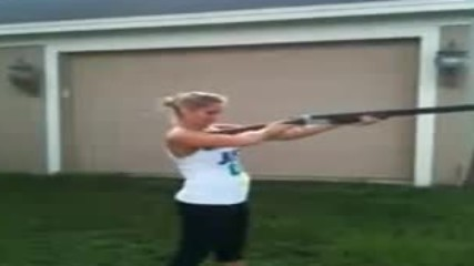 Hot girl fails with shotgun