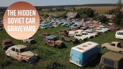Between two small Russian towns lie hundreds of Soviet cars