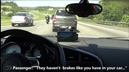 Гонка между Audi R8 срещу Kawasaki Ninja Zx10r и Suzuki Gsxr1000