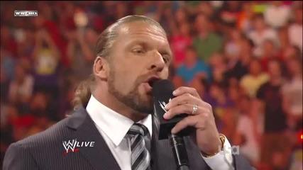 Wwe Raw 18.07.11 Triple h Официално е шеф на Wwe И Джон сина остава в Wwe
