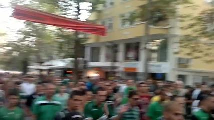 Зеленото шествие преди мача с цаците