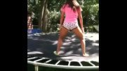 Girl with no pants on trampoline vine co