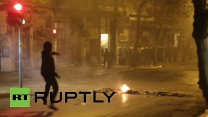 Greece: See anarchists fling FIREWORKS at police as clashes erupt in Athens