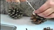 Тя поставя борови шишарки в цветен восък и създава красиви предмети