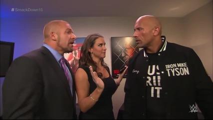 The Rock and Triple H take an aggressive stroll down memory lane