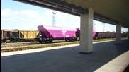 Цикламени товарни вагони на гара Горна Оряховица