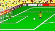 Бразилия и Хърватия - Забавна футболна анимация.