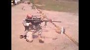 .50 cal Barrett sniper rifle fired while kneeling!
