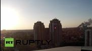 Гъсти облаци дим над Донецк