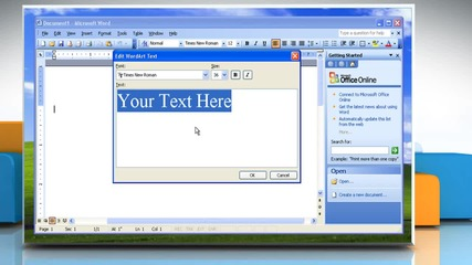 Microsoft® Word 2003: How to insert a Wordart Object on Windows® Xp?