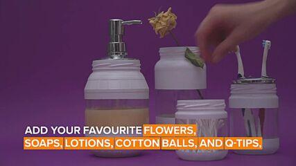 Jar decorations: Mason jars for a bathroom set