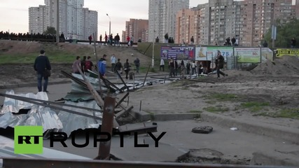 Ukraine: Intense clashes erupt as activists trash Kiev mall building site