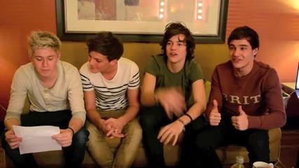 Найл, Луи, Хари и Лиъм обясняват британски думи пред popstar